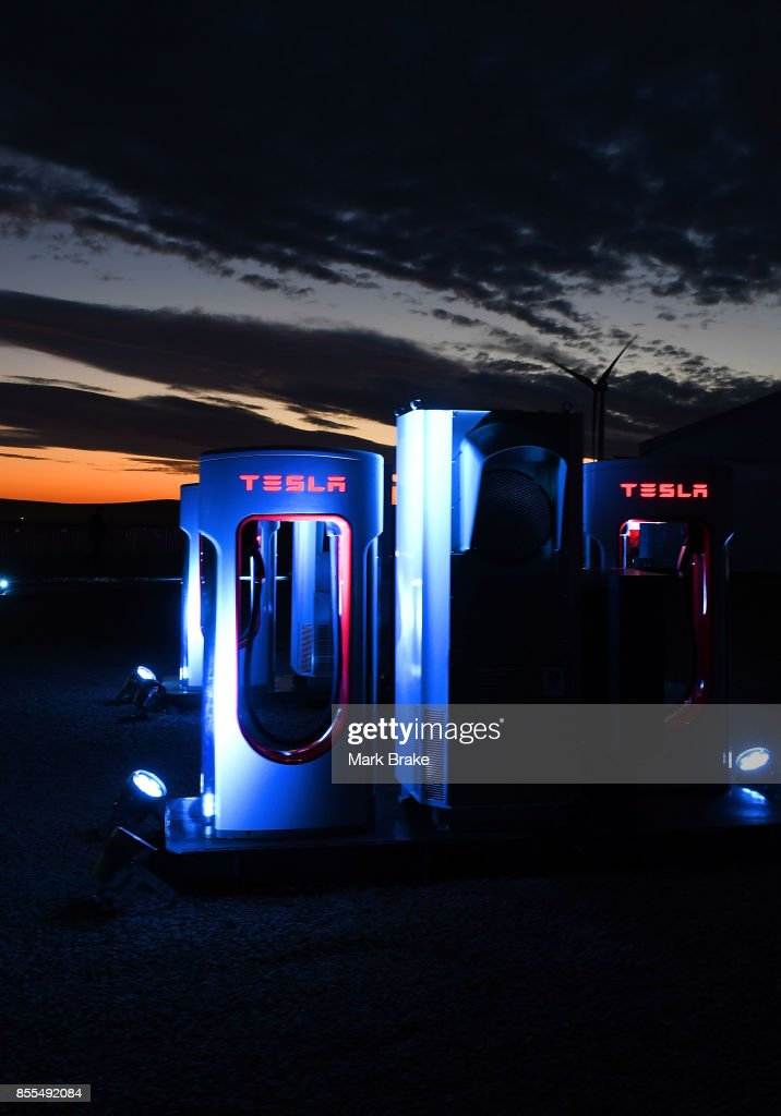 Tesla Charging station at the Tesla Powerpack Launch Event at Hornsdale Wind Farm on September 29, 2017 in Adelaide, Australia. Tesla will build the world's largest lithium ion battery after coming to an agreement with the South Australian government. The Powerpack project will be capable of an output of 100 megawatts (MW) of power at a time and the huge battery will be able to store 129 megawatt hours (MWh) of energy. Tesla CEO Elon Musk has promised to build the Powerpack in 100 days, or he will deliver it for free.