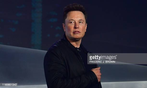 Tesla cofounder and CEO Elon Musk introduces the newly unveiled allelectric batterypowered Tesla Cybertruck at Tesla Design Center in Hawthorne...