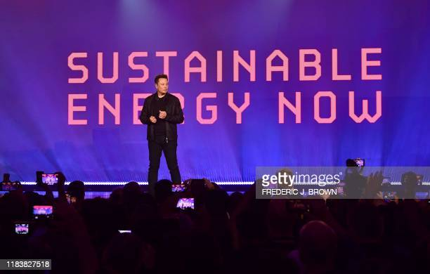 Tesla cofounder and CEO Elon Musk speaks before the unveiling of the upcoming allelectric batterypowered Tesla's Cybertruck at Tesla Design Center in...