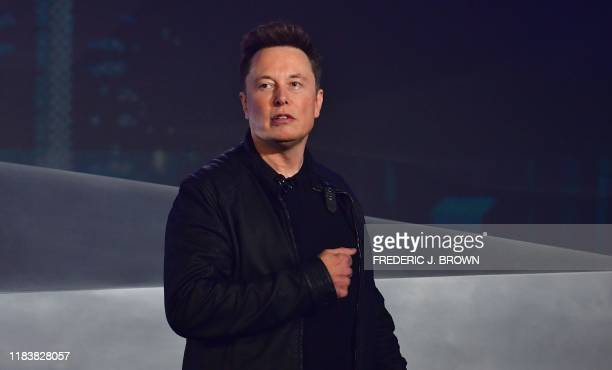 Tesla cofounder and CEO Elon Musk speaks during the unveiling of the allelectric batterypowered Tesla's Cybertruck at Tesla Design Center in...