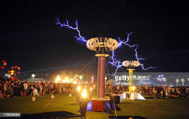 Tesla Coil is displayed at day 2 of the Coachella Valley Music Arts Festival 2009 at the the Empire Polo Club on April 18 2009 in Indio California