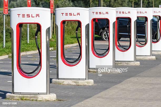 Tesla Electric Car Supercharger Charging Station