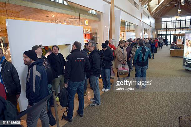 Tesla fans stood in long lines inside at Park Meadows March 31 2016 to preorder the new Tesla due to be unveiled Thursday night Some Tesla fans...