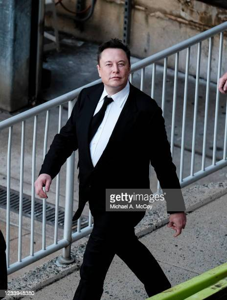 Tesla Founder Elon Musk leaves a courthouse after testifying in a court case on July 12, 2021 in Wilmington, Delaware. Musk testified in court over...