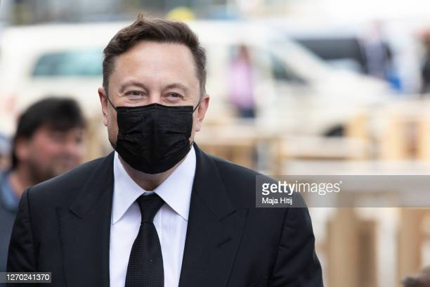 Tesla head Elon Musk arrives at a retreat of the German Christian Democrats CDU/CSU Bundestag faction on September 02, 2020 in Berlin, Germany. Musk...