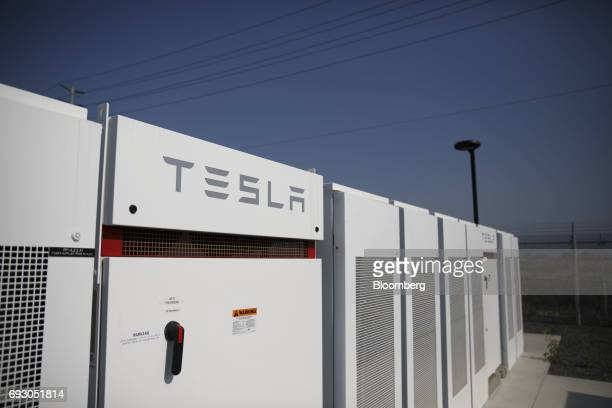Tesla Inc Powerpacks and inverters stand at the Southern California Edison Co Mira Loma energy storage system facility in Ontario California US on...