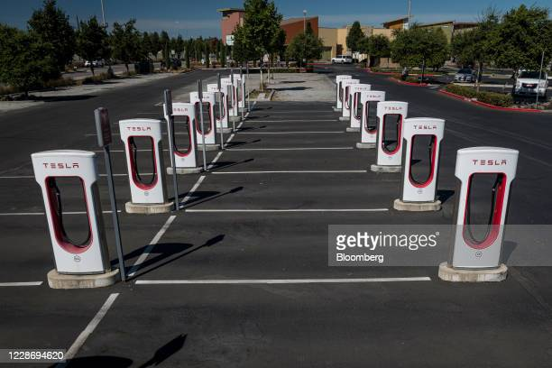 Tesla Inc Supercharger station in Petaluma California US on Thursday Sept 24 2020 California will phase out sales of new gasolinepowered cars by 2035...