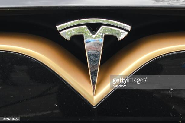 A Tesla logo seen on Tesla model S P100D at a launch event for the MobilityX selfdriving conference On Tuesday May 8 in Dublin Ireland
