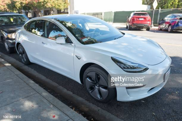 Tesla Model 3 automobile parked along a street in the Silicon Valley town of Mountain View California October 28 2018