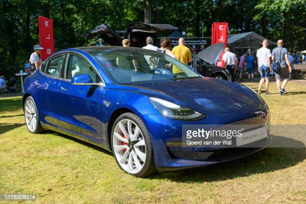 Tesla Model 3 compact full electric car on display at the 2019 Concours d'Elegance at palace Soestdijk on August 25 2019 in Baarn Netherlands This is...