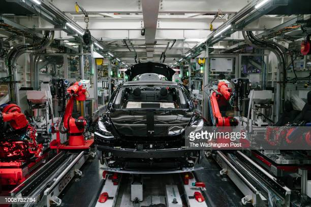 Tesla Model 3 is seen in the general assembly line at the Tesla factory in Fremont California on Thursday July 26 2018