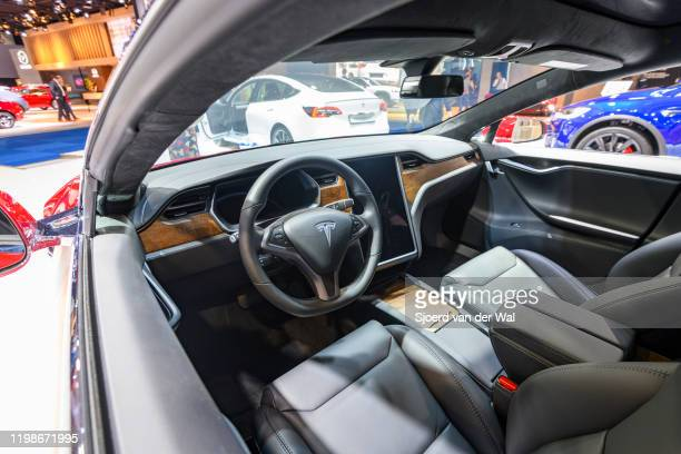 Tesla Model S dual motor all electric sedan interior on display at Brussels Expo on JANUARY 09, 2020 in Brussels, Belgium. The Tesla model S is...