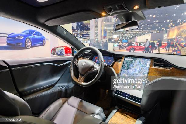 Tesla Model S dual motor all electric sedan interior on display at Brussels Expo on January 9, 2020 in Brussels, Belgium. The Tesla model S is fitted...