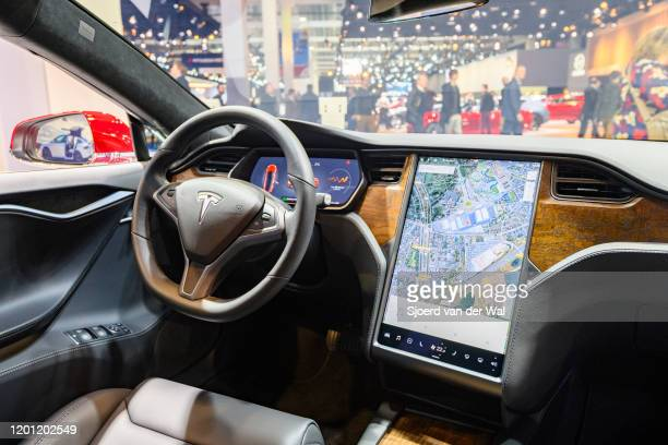 Tesla Model S dual motor all electric sedan interior on display at Brussels Expo on January 9 2020 in Brussels Belgium The Tesla model S is fitted...
