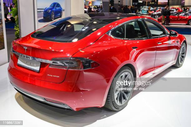 Tesla Model S dual motor all electric sedan on display at Brussels Expo on JANUARY 09, 2020 in Brussels, Belgium.