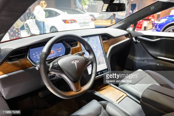 Tesla Model S dual motor all electric sedan on display at Brussels Expo on JANUARY 09 2020 in Brussels Belgium