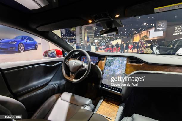 Tesla Model S dual motor all electric sedan on display at Brussels Expo on January 9, 2020 in Brussels, Belgium.