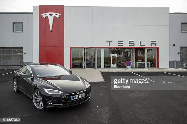 A Tesla Model S electric automobile stands outside a Tesla Motors Inc showroom in Paris France on Thursday Dec 17 2015 After losing $188 billion...