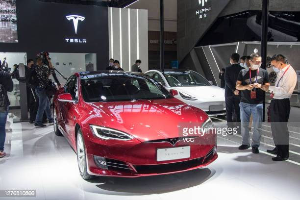 Tesla Model S electric car is on display during 2020 Beijing International Automotive Exhibition at China International Exhibition Center on...