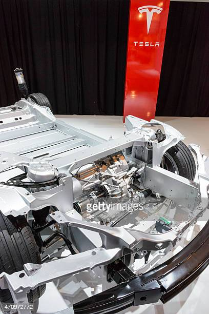 Tesla Model S full electric engine on a chassis