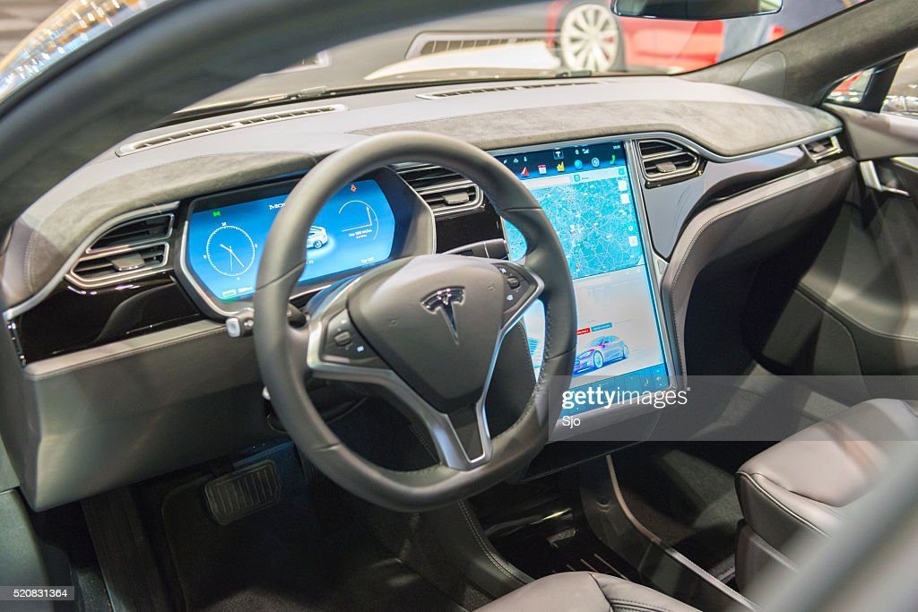 Tesla Model S Full Electric Luxury Car Dashboard Stock Photo Getty