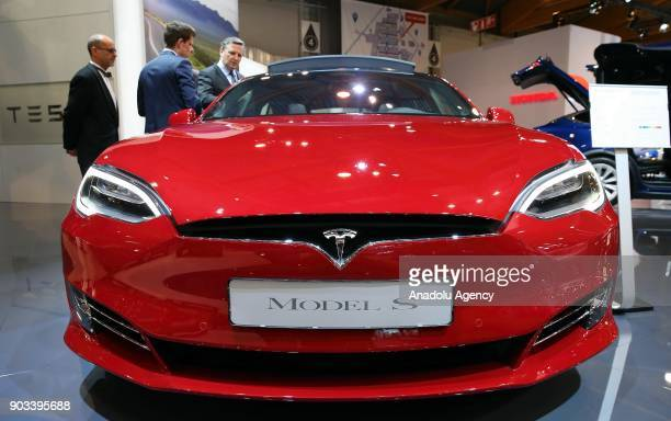 Tesla Model S is being displayed during the 96th Brussels Motor Show at Brussels Expo Center in Brussels Belgium on January 10 2018