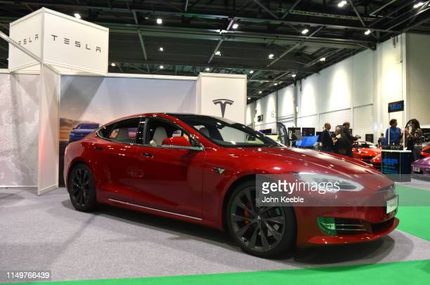 Tesla Model S is displayed during the London Motor and Tech Show at ExCel on May 16 2019 in London England The London Motor Tech Show is the largest...