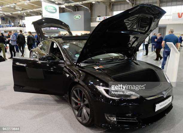 Tesla Model S is displayed during the Poznan Motor show at the International Poznan Trades Center in Poznan Poland on April 05 2018