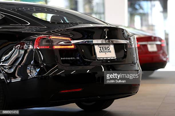 Tesla Model S is displayed inside of the new Tesla flagship facility on August 10 2016 in San Francisco California Tesla is opening a 65000 square...