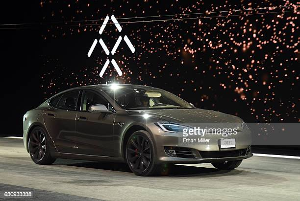 Tesla Model S P100D in Ludicrous Mode is shown during a speed test against Faraday Future's FF 91 prototype electric crossover vehicle during the FF...