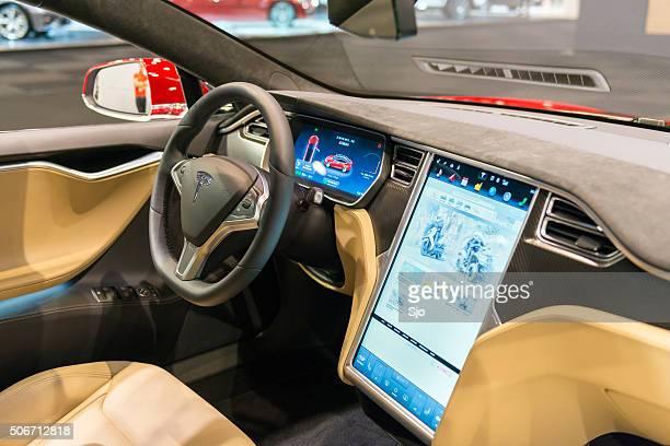 Tesla Model S P90D full electric luxury car dashboard