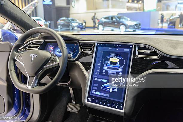 tesla model x 90d electric luxury high tech interior - hybrid car stock photos and pictures