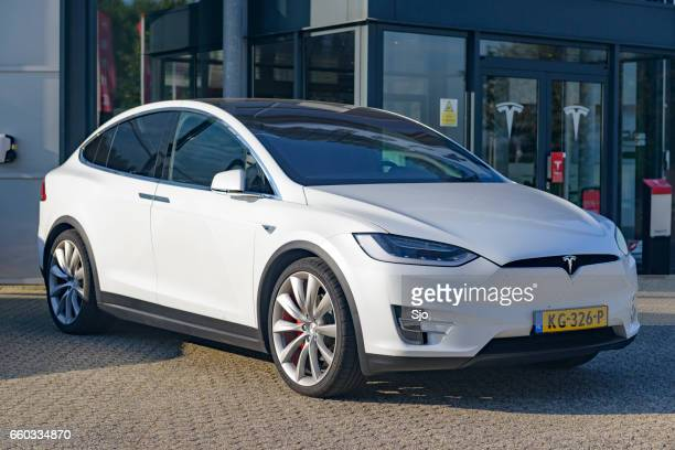 tesla model x p90d all-electric crossover suv - tesla model s stock photos and pictures