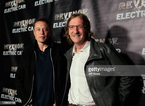 Tesla Motors CEO Elon Musk and Director Chris Paine arrive at 'Revenge Of The Electric Car' Premiere held at Landmark Nuart Theatre on October 21...