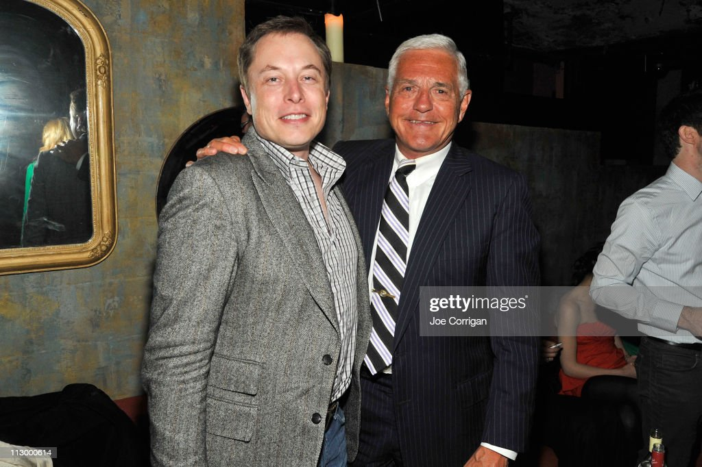 Tesla Motors CEO Elon Musk (L) and General Motors executive Bob Lutz attend the Tribeca Film Festival after-party for Revenge Of The Electric Car hosted by The Bunker Club at The Bunker Club on April 22, 2011 in New York City.