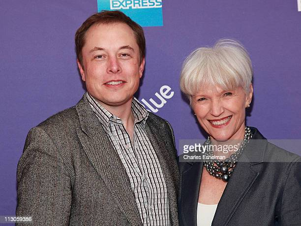 Tesla Motors CEO Elon Musk and mother Maye Musk attend the premiere of 'Revenge of the Electric Car' during the 10th annual Tribeca Film Festival at...