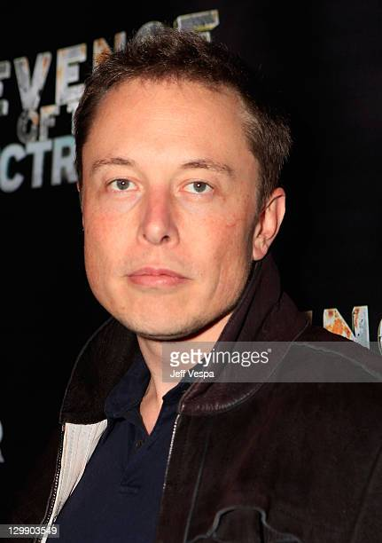 Tesla Motors CEO Elon Musk arrives at 'Revenge Of The Electric Car' Premiere held at Landmark Nuart Theatre on October 21 2011 in Los Angeles...
