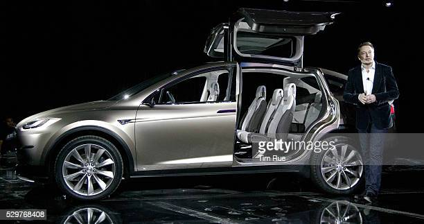 Tesla Motors CEO Elon Musk unveiled Model X an all electric crossover vehicle at the Tesla Design Studio in Hawthorne CA on Thursday night February...