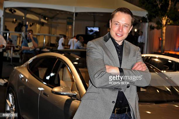 Tesla Motors Chairman and CEO Elon Musk introduces the new Tesla Model S allelectric sedan in Hawthorne California on March 26 2009 Musk said the...