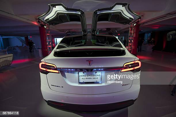 A Tesla Motors Inc Model X electric vehicle stands on display at the company's new showroom in San Francisco California US on Tuesday Aug 9 2016...