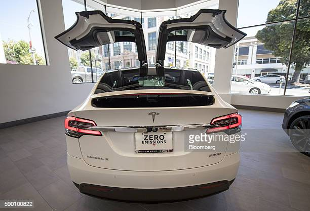 A Tesla Motors Inc Model X vehicle is displayed at the company's new showroom in San Francisco California US on Wednesday Aug 10 2016 Tesla Motors...