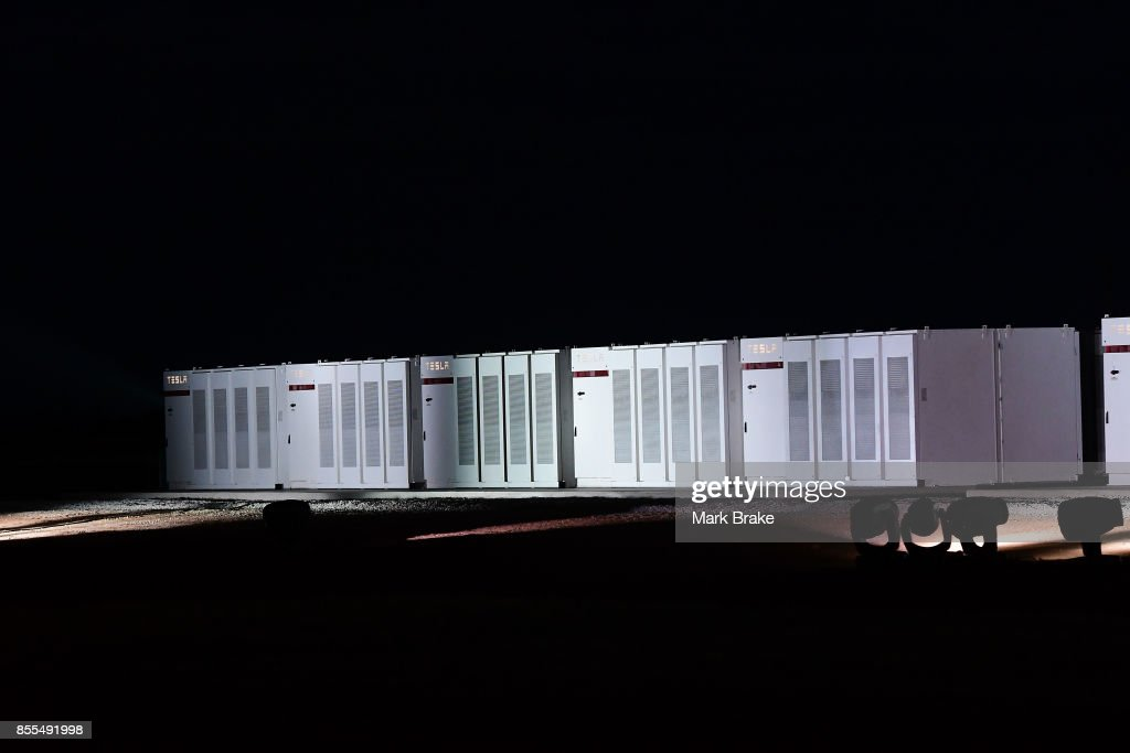Tesla Powerpack batteries during Tesla Powerpack Launch Event at Hornsdale Wind Farm on September 29, 2017 in Adelaide, Australia. Tesla will build the world's largest lithium ion battery after coming to an agreement with the South Australian government. The Powerpack project will be capable of an output of 100 megawatts (MW) of power at a time and the huge battery will be able to store 129 megawatt hours (MWh) of energy. Tesla CEO Elon Musk has promised to build the Powerpack in 100 days, or he will deliver it for free.