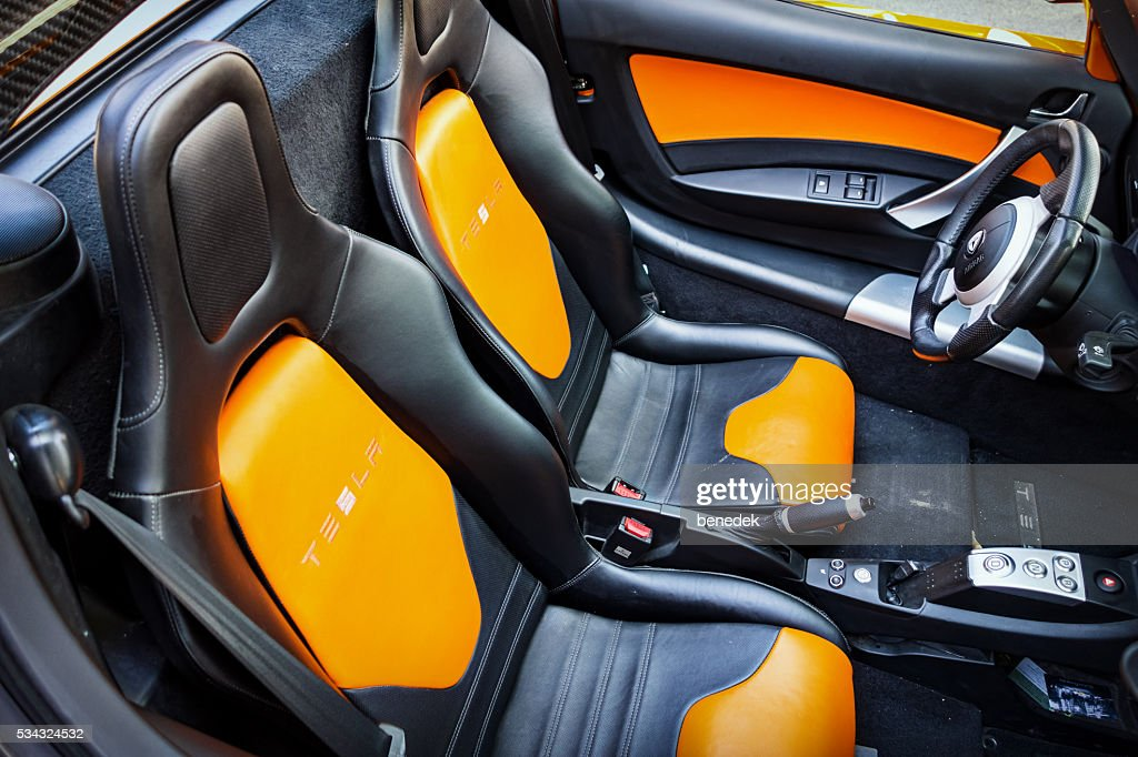 Tesla Roadster Electric Sports Car Interior Seats : Stock Photo