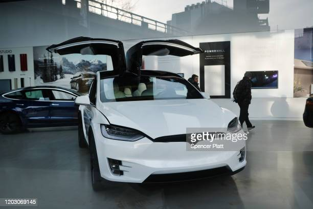 Tesla vehicle is displayed in a Manhattan dealership on January 30, 2020 in New York City. Following a fourth-quarter earnings report, Tesla, the...