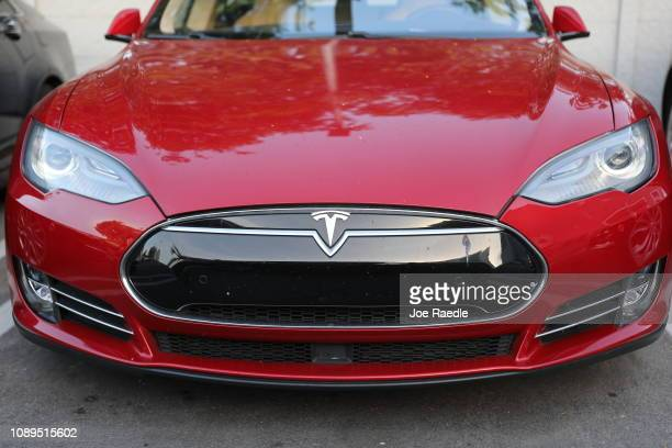 Tesla vehicle is seen at a dealership on January 03 2019 in Miami Florida Tesla Inc shares have fallen as the company reported fourthquarter Model 3...
