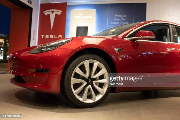 Tesla vehicles are on display at a Tesla store in Palo Alto California United States on October 3 2019 Telsa Inc shares fell more than 4 percent on...