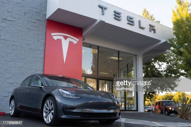 Tesla vehicles are on display at a Tesla store in Palo Alto, California, United States on October 3, 2019. Telsa Inc. Shares fell more than 4 percent...