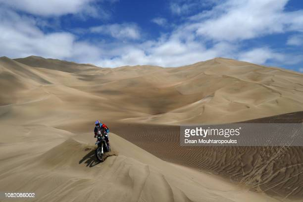 TeslaTamega Rally Team No 54 Motorbike ridden by Fausto Mota of Spain competes in the desert on the sand during Stage Six of the 2019 Dakar Rally...