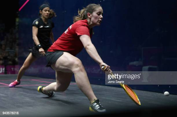 Tesni Evans of Wales competes against Nicol David of Malaysia during squash in the women single Bronze Medal match on day five of the Gold Coast 2018...