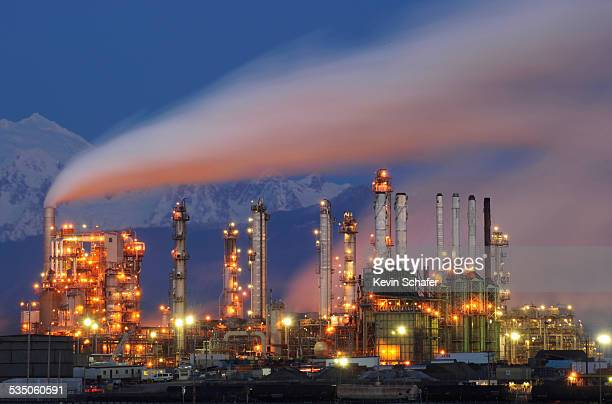 Tesoro Oil Refinery Anacortes Washington State USA dusk January 20 2015